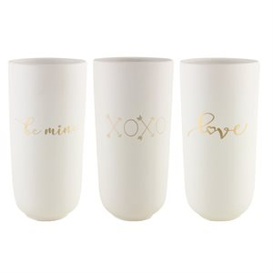 "Vases capsule assortis ""Love, Xoxo, Be Mine"""
